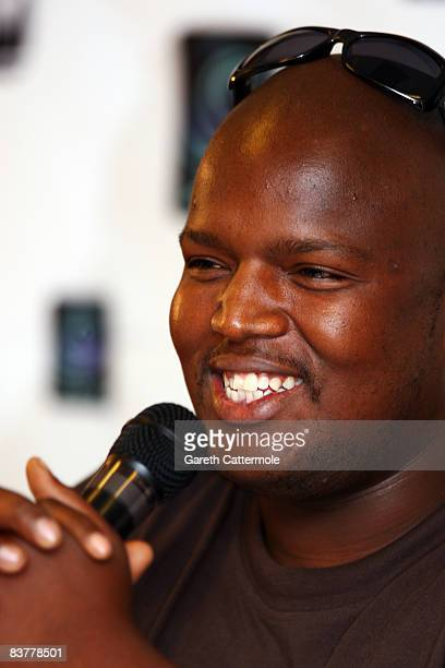 Singer Hip Hop Pantsula or HHP speaks during the MTV Africa Music Awards 2008 Press Conference at the Abuja Hilton Hotel on November 21, 2008 in...