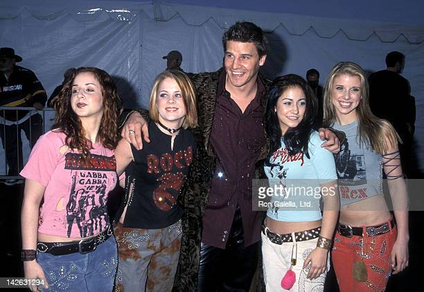Singer Holly BlakeArnstein singer Ashley Poole singer Diana Ortiz and singer Melissa Schuman of Dream and actor David Boreanaz attend the 28th Annual...