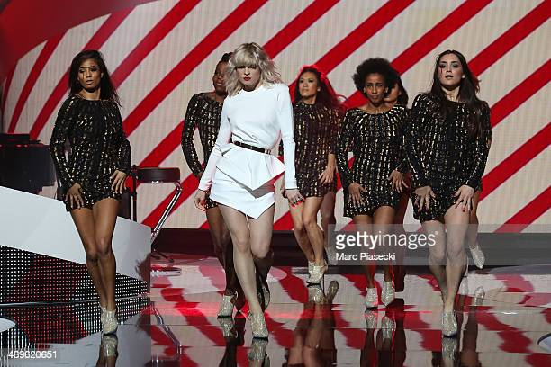 Singer Hollysiz performs during the 'Les Victoires de la musique 2014' ceremony at Le Zenith on February 14 2014 in Paris France