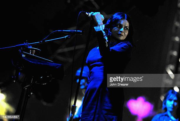 Singer Hope Sandoval of Mazzy Star performs during Day 1 of the 2012 Coachella Valley Music Arts Festival held at the Empire Polo Club on April 13...