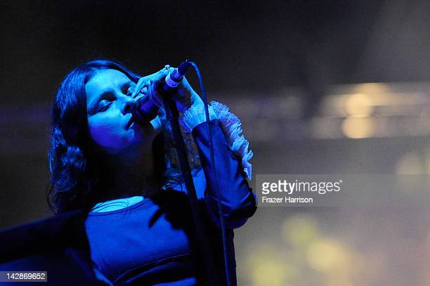 Singer Hope Sandoval of the band Mazzy Star performs during Day 1 of the 2012 Coachella Valley Music Arts Festival held at the Empire Polo Club on...