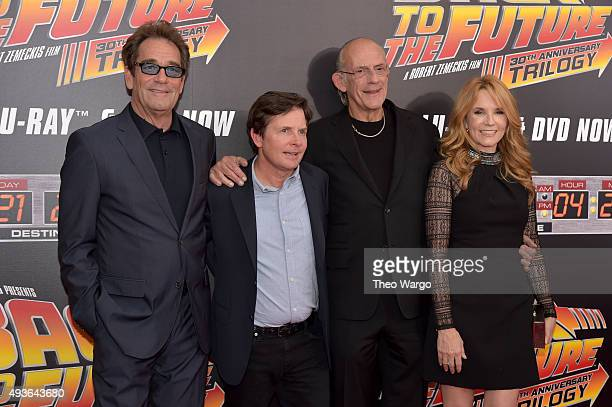 Singer Huey Lewis Actor Michael J Fox Actor Christopher Lloyd and Actress Lea Thompson attend the Back To The Future New York special anniversary...
