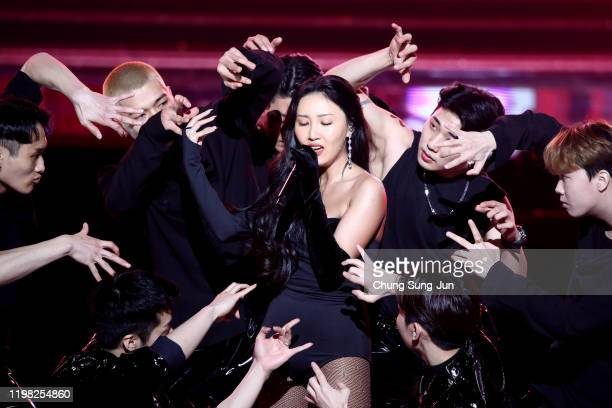Singer Hwa Sa performs on stage during the 9th Gaon Chart K-Pop Awards on January 08, 2020 in Seoul, South Korea.