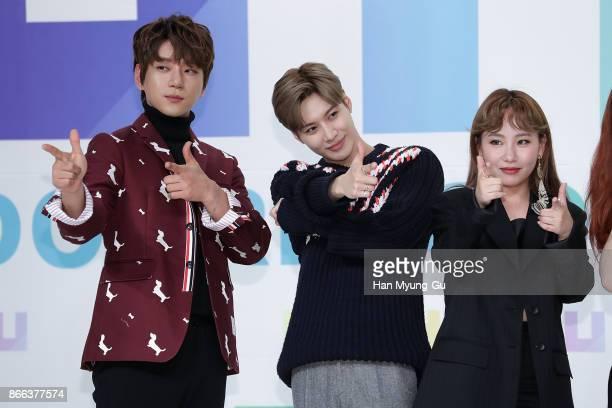 Singer Hwang ChiYeul aka Chiyeul Hwang Taemin of South Korean boy band SHINee and Jo HyunA aka Jo Hyuna of Urban Zakapa attend the KBS Idol Rebooting...