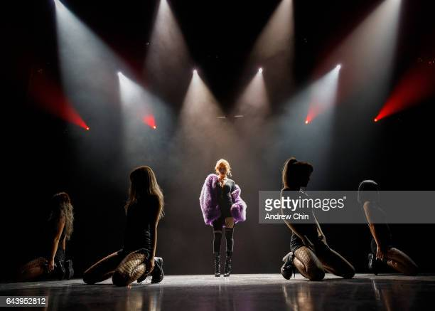 Singer HyunA performs on stage during her 'The Queen's Back' North american tour opener at Hard Rock Casino Vancouver on February 22 2017 in...