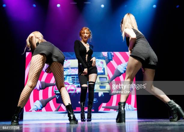Singer HyunA performs on stage during her 'The Queen's Back' North american tour opener at Hard Rock Casino Vancouver on February 22, 2017 in...