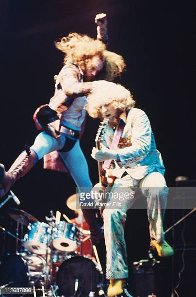 Singer Ian Anderson and guitarist Martin Barre of Jethro Tull during a live concert performance on stage at the Wembley Empire Pool London England...