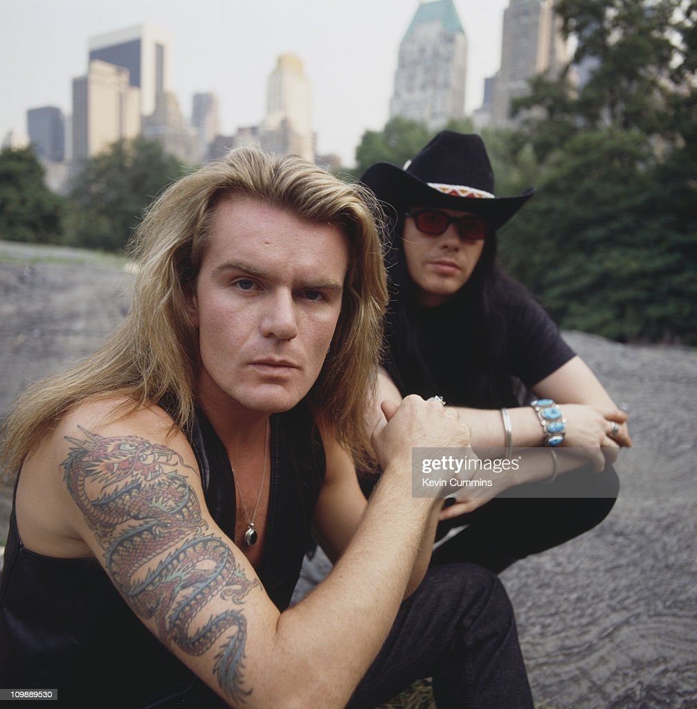 Singer Ian Astbury (right) and guitarist Billy Duffy of English rock group The Cult, New York City, 26th July 1989.