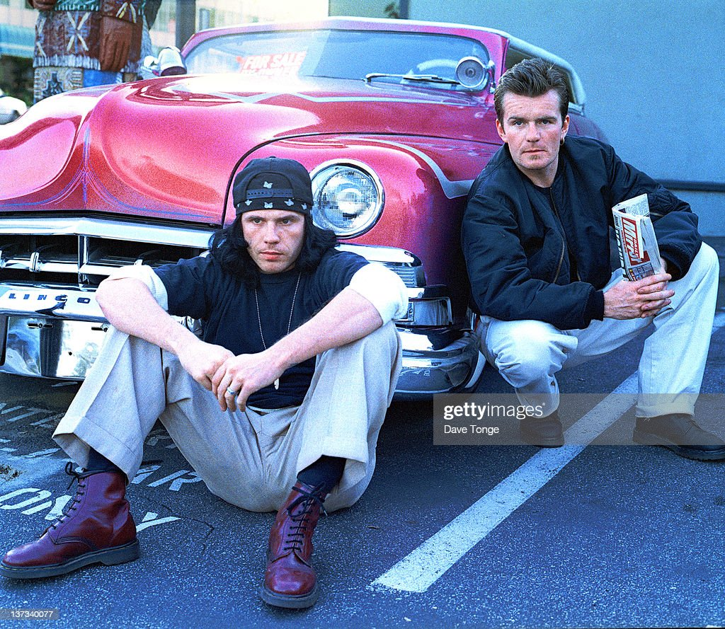 Singer Ian Astbury (left) and guitarist Billy Duffy of English rock group The Cult, Sunset Strip, Los Angeles, USA, 1993.