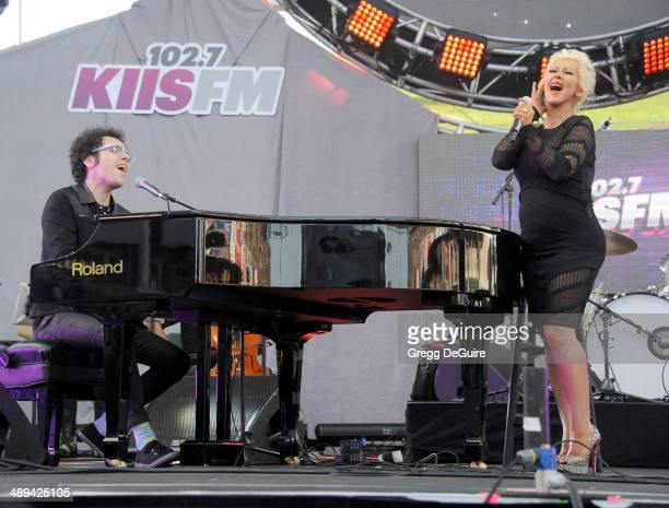 Singer Ian Axel of A Great Big World and Christina Aguilera perform at 1027 KIIS FM's 2014 Wango Tango at StubHub Center on May 10 2014 in Los...