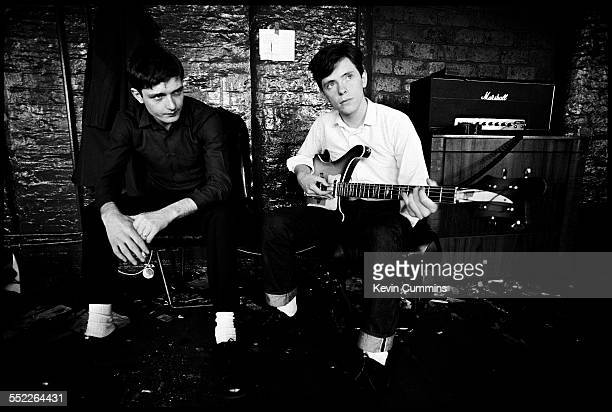 Singer Ian Curtis and guitarist Bernard Sumner of English post punk band Joy Division at TJ Davidson's rehearsal room Little Peter Street Manchester...