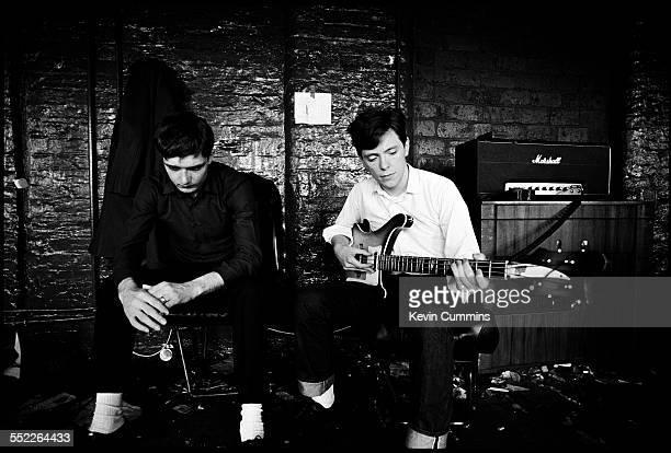 Singer Ian Curtis and guitarist Bernard Sumner of English post punk band, Joy Division, at TJ Davidson's rehearsal room, Little Peter Street,...