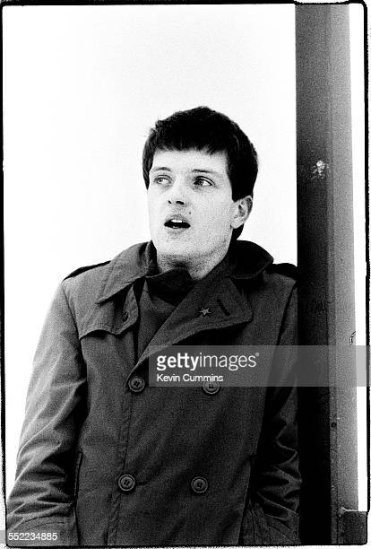 Singer Ian Curtis of English postpunk band Joy Division in Manchester 6th January 1979