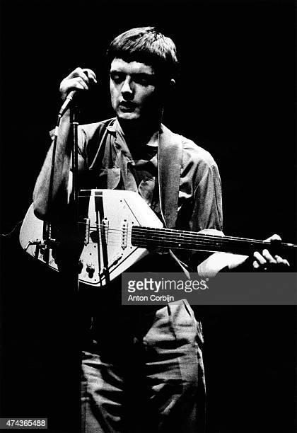 Singer Ian Curtis of the rock band Joy Division is photographed on April 4, 1980 in London, England.