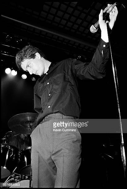 Singer Ian Curtis performing with English rock group Joy Division at Mountford Hall Liverpool University 2nd October 1979