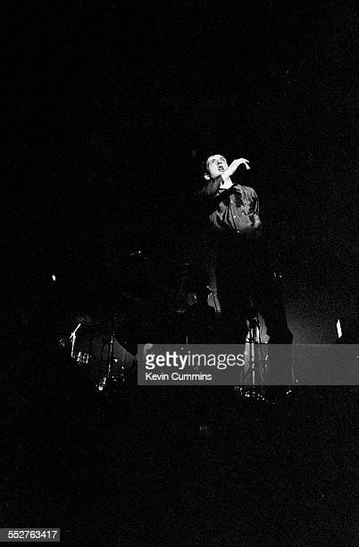 Singer Ian Curtis performing with rock group Joy Division at the Mayflower Club, Manchester, 28th July 1979.