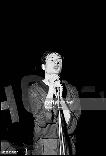 Singer Ian Curtis performing with rock group Joy Division at the Mayflower Club Manchester 28th July 1979