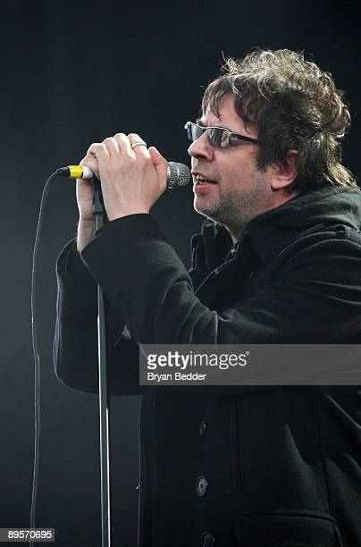 Singer Ian McCulloch of Echo the Bunnymen performs on stage during the 2009 All Points West Music Arts Festival at Liberty State Park on August 2...