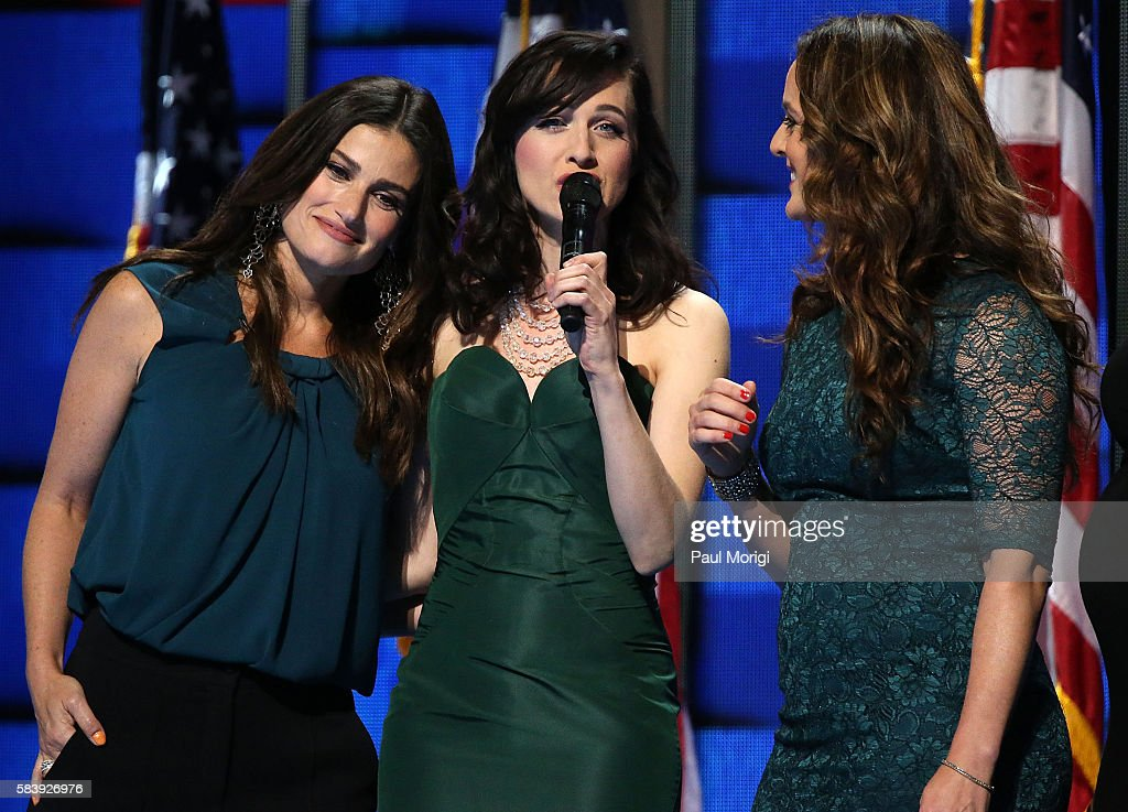 Singer Idina Menzel (L) joins the Stars of Broadway to perform 'What the World Needs Now' honoring those killed in the Pulse nightclub shooting in Orlando on the third day of the Democratic National Convention at the Wells Fargo Center on July 27, 2016 in Philadelphia, Pennsylvania. An estimated 50,000 people are expected in Philadelphia, including hundreds of protesters and members of the media. The four-day Democratic National Convention kicked off July 25.