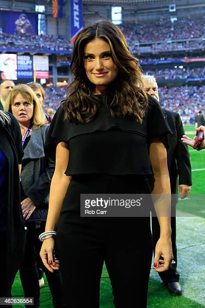 Singer Idina Menzel looks on after singing the national anthem prior to Super Bowl XLIX between the Seattle Seahawks and the New England Patriots at...