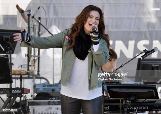 Singer Idina Menzel performs during the Women's March Los Angeles 2018 on January 20 2018 in Los Angeles California