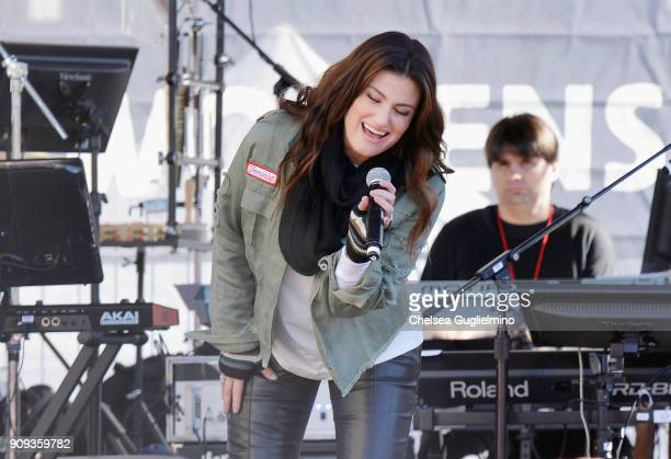 Singer Idina Menzel speaks during the Women's March Los Angeles 2018 on January 20 2018 in Los Angeles California