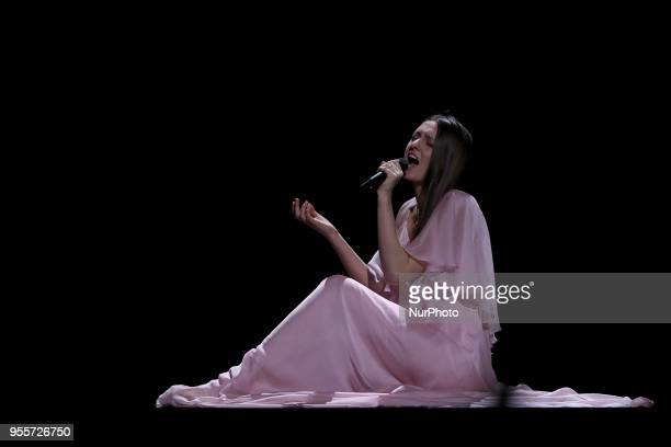 Singer Ieva Zasimauskaite of Lithuania performs during the Dress Rehearsal of the first SemiFinal of the 2018 Eurovision Song Contest at the Altice...