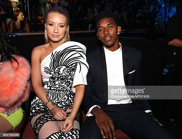 Singer Iggy Azalea and professional basketball player Nick Young attend the 2014 MTV Video Music Awards at The Forum on August 24 2014 in Inglewood...