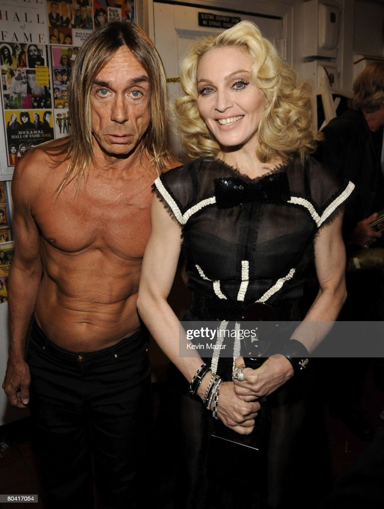 Singer Iggy Pop and Singer Madonna backstage at the 23rd Annual Rock and Roll Hall of Fame Induction Ceremony at the Waldorf Astoria on March 10, 2008 in New York City. *EXCLUSIVE*