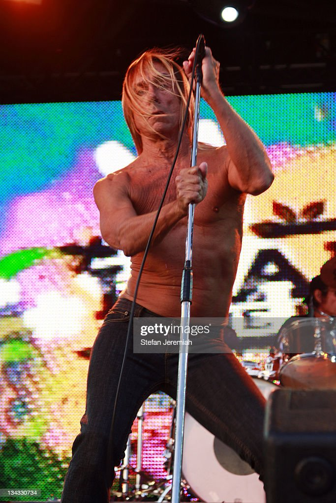 Singer Iggy Pop and The Stooges perform at Get Loaded in the Park at Clapham Common on August 24, 2008 in London, England.