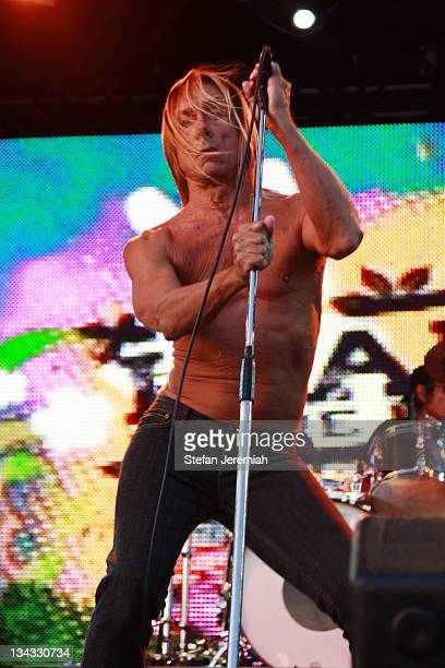 Singer Iggy Pop and The Stooges perform at Get Loaded in the Park at Clapham Common on August 24 2008 in London England