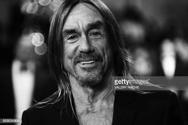 """Singer Iggy Pop arrives on May 19, 2016 for the screening of the film """"Gimme Danger"""" at the 69th Cannes Film Festival in Cannes, southern France. /..."""