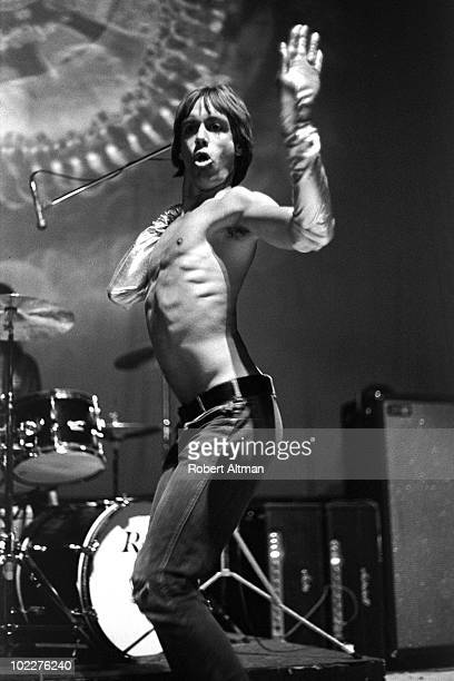 Singer Iggy Pop of Iggy And The Stooges performs onstage at the Fillmore West in May 1970 in San Francisco California