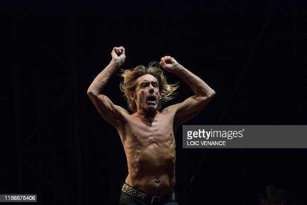 Singer Iggy Pop performs during the Vieilles Charrues music festival on July 19, 2019 in Carhaix-Plouguer, western France.