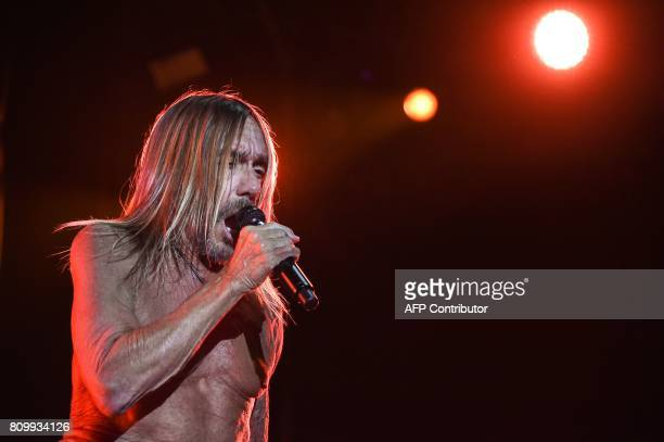 US singer Iggy Pop performs on stage during the 29th Eurockeennes rock music festival on July 6 2017 in Belfort eastern France / AFP PHOTO /...
