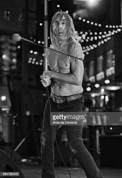 """Singer Iggy Pop performs onstage at the premiere of STARZ's """"Ash Vs Evil Dead"""" at TCL Chinese Theatre on October 28, 2015 in Hollywood, California."""