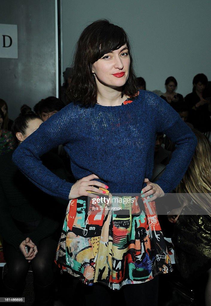 Singer Ilirjana Alushaj attends the Karen Walker fall 2013 fashion show during Mercedes-Benz FAshion Week at Pier 59 on February 11, 2013 in New York City.