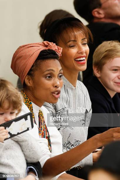 Singer Imany and Sonia Rolland attend the Bonpoint Spring Summer 2018 show as part of Paris Fashion Week on January 24 2018 in Paris France