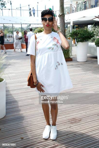 Singer Imany attends the 2018 French Open Day Twelve at Roland Garros on June 7 2018 in Paris France
