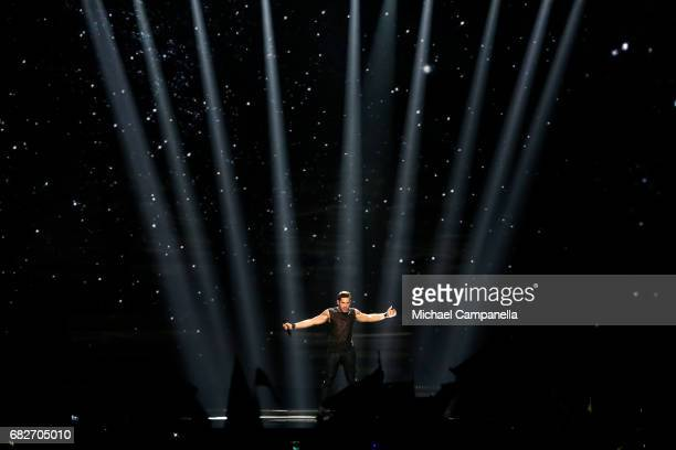 Singer IMRI representing Israel performs the song 'I Feel Alive' during the final of the 62nd Eurovision Song Contest at International Exhibition...