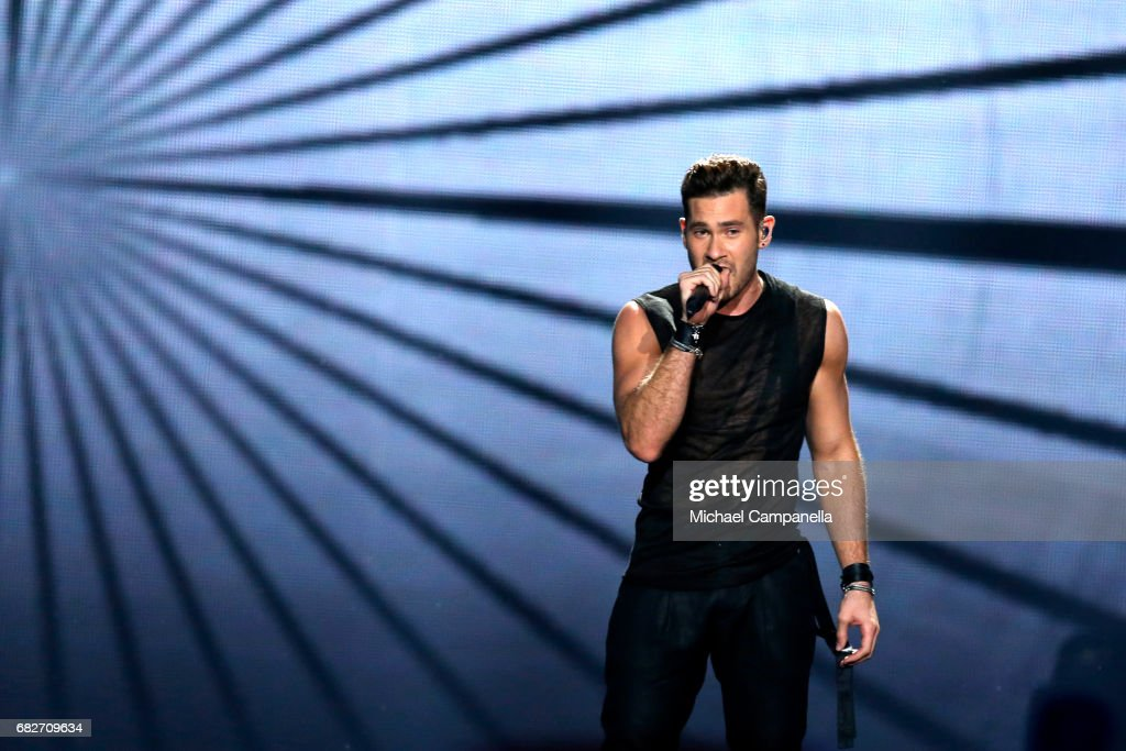 Singer IMRI, representing Israel, performs the song 'I Feel Alive' during the final of the 62nd Eurovision Song Contest at International Exhibition Centre (IEC) on May 13, 2017 in Kiev, Ukraine.