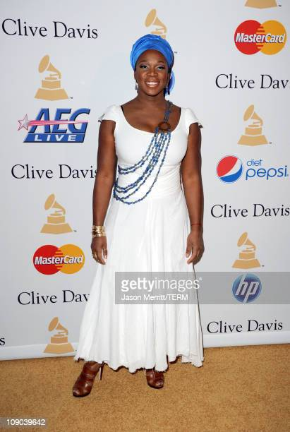Singer India Arie arrives at the 2011 PreGRAMMY Gala and Salute To Industry Icons Honoring David Geffen at Beverly Hilton on February 12 2011 in...