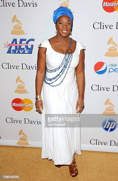 Singer India Arie arrives at the 2011 Pre-GRAMMY Gala and Salute To Industry Icons Honoring David Geffen at Beverly Hilton on February 12, 2011 in...