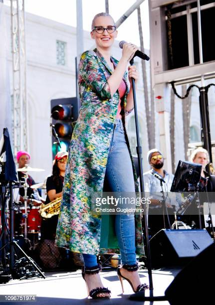 Singer Ingrid Michaelson performs during the 2019 Women's March Los Angeles on January 19 2019 in Los Angeles California
