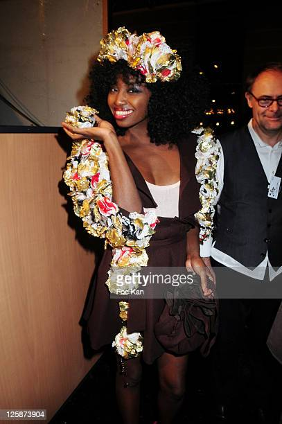 Singer Inna Modja and stylist Jean Paul Hevin attend the Salon Du Chocolat 2010 Opening Night at the Parc des Expositions Porte de Versailles on...