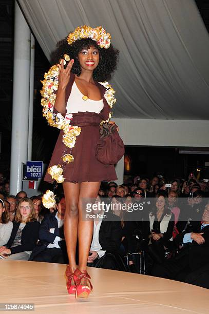 Singer Inna Modja dressed by stylists Jean Paul Hevin and Les Fees du Bengale attends the Salon Du Chocolat 2010 Opening Night at the Parc des...