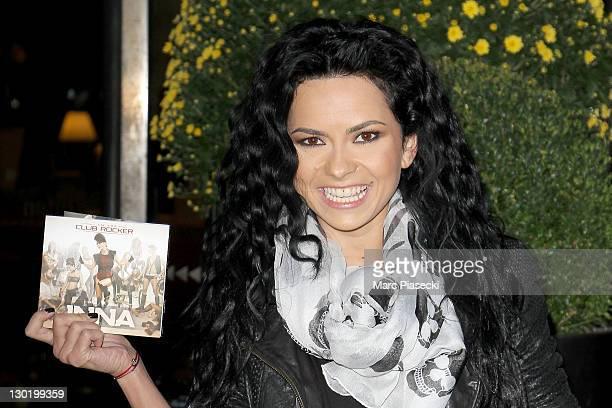 Singer Inna promotes her new album 'I am the Club Rocker' on October 24 2011 in Paris France