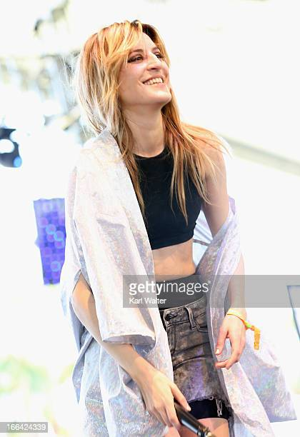 Singer Ioanna Gika of the band IO Echo performs onstage during day 1 of the 2013 Coachella Valley Music Arts Festival at the Empire Polo Club on...