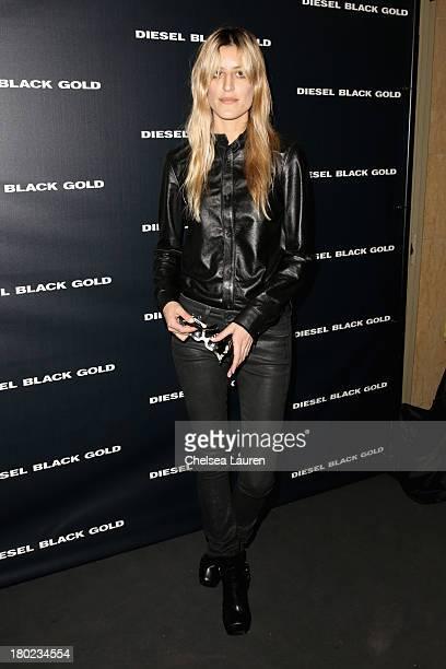 Singer Ioanna Gika poses backstage at the Diesel Black Gold fashion show during MercedesBenz Fashion Week Spring 2014 at Vanderbilt Hall at Grand...