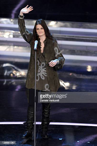 Singer Irene Fornaciari performs on stage at the opening night of the 62th Sanremo Song Festival at the Ariston Theatre on February 14 2012 in San...